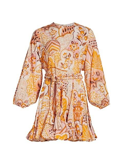 Ella Patchwork Floral Puff-Sleeve A-Line Dress