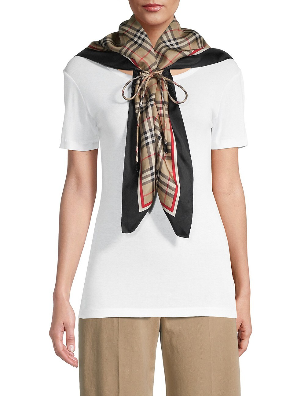 Burberry Drawcord Detail Vintage Check Silk Square Scarf In Neutrals