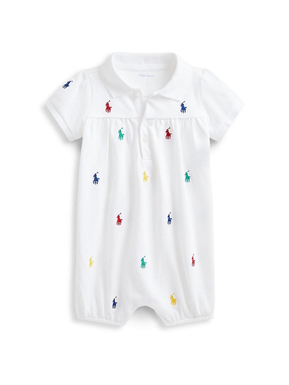 폴로 랄프로렌 베이비 아기옷 우주복  Polo Ralph Lauren Baby Girls Logo Embroidered Cotton Pique Shortall,WHITE
