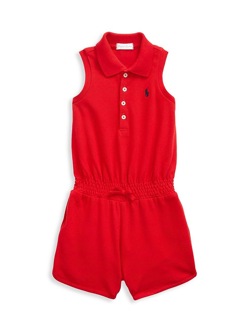 폴로 랄프로렌 베이비 아기옷 우주복  Polo Ralph Lauren Baby Girls Stretch Mesh Polo Romper,RED
