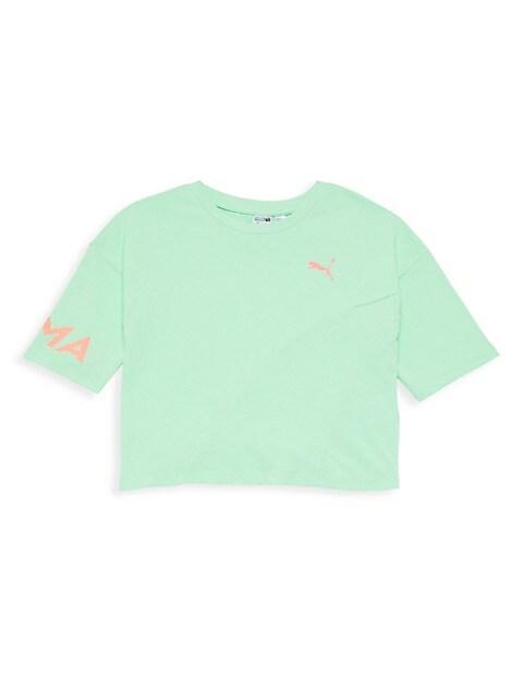 Girl's Evide Crop Logo T-Shirt