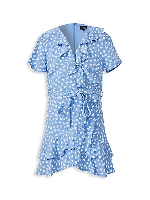 Girl's Ditsy Ruffled Wrap Dress