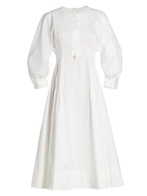 Bubble-Sleeve Cotton Midi Dress