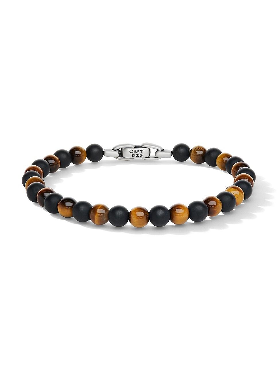 David Yurman Spiritual Beads Sterling Silver, Onyx & Tiger's Eye Bracelet