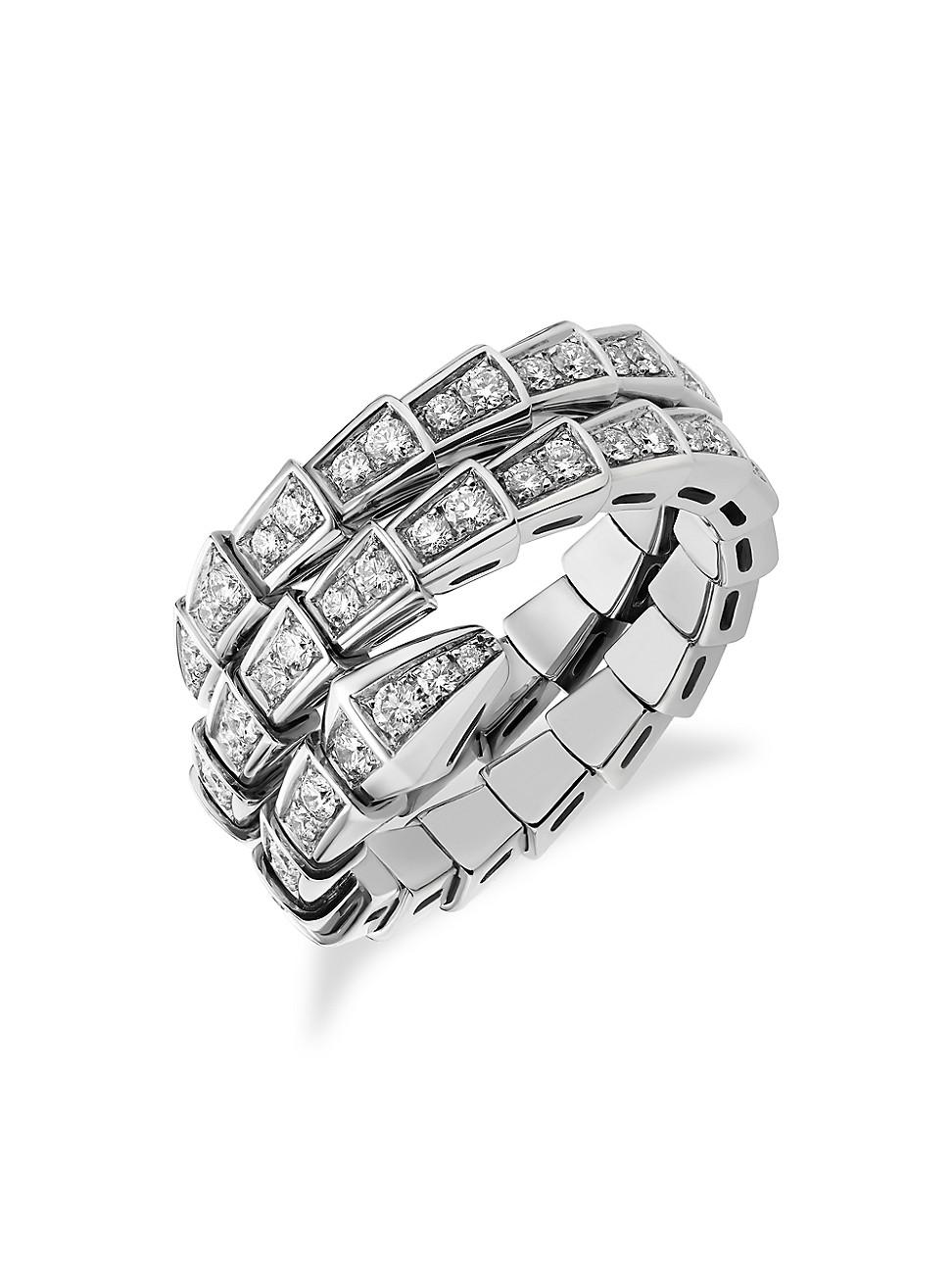 Bvlgari Rings WOMEN'S SERPENTI VIPER 18K WHITE GOLD & PAVÉ DIAMOND 2-COIL RING