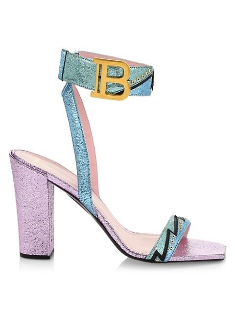 Stella Stitched Metallized Block Heel Sandals