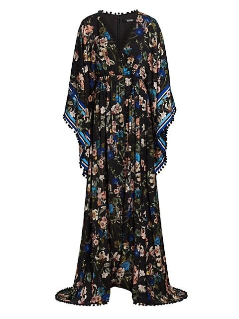 Floral Cape-Sleeve Dress