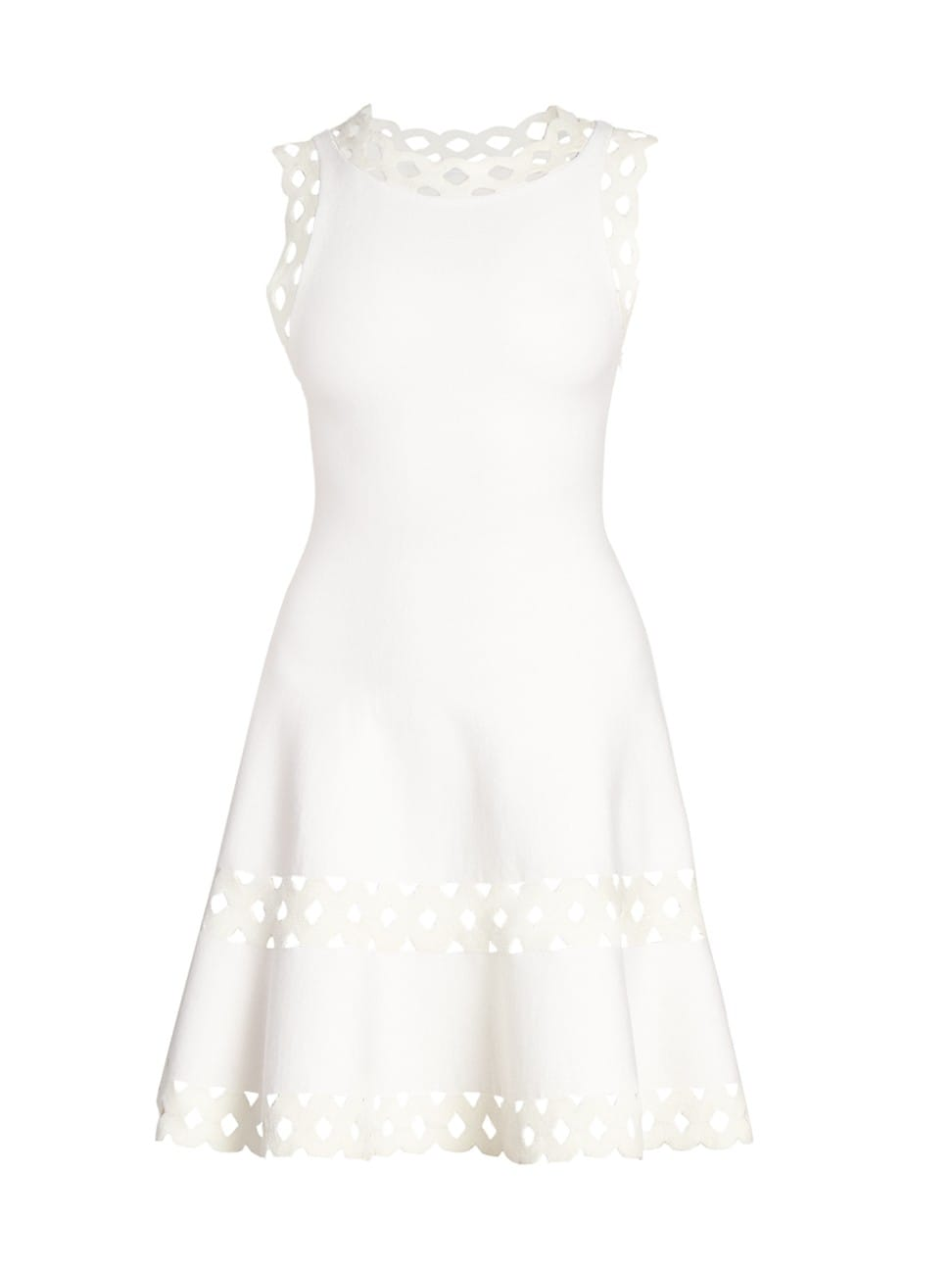 Alaïa Lattice Trim Fit-&-flare Knit Dress In Blanc