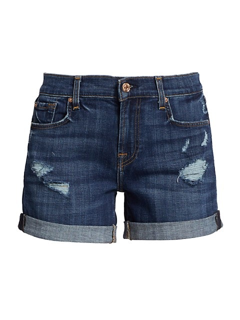 Relaxed Midroll Distressed Denim Shorts