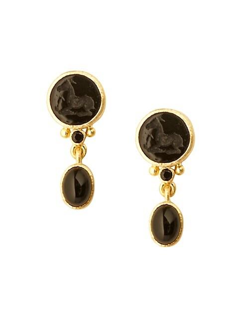 19K Yellow Gold, Multi-Stone & Venetian Glass Intaglio Black 'Tiny Horse' Drop Earrings