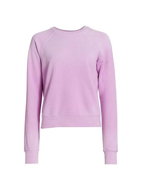 Classic Raglan-Sleeve Cotton Crewneck Sweatshirt