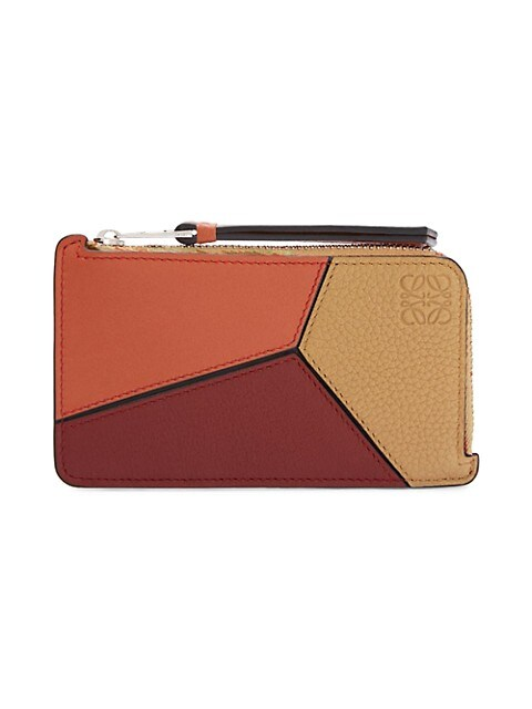 Puzzle Colorblock Leather Card Case