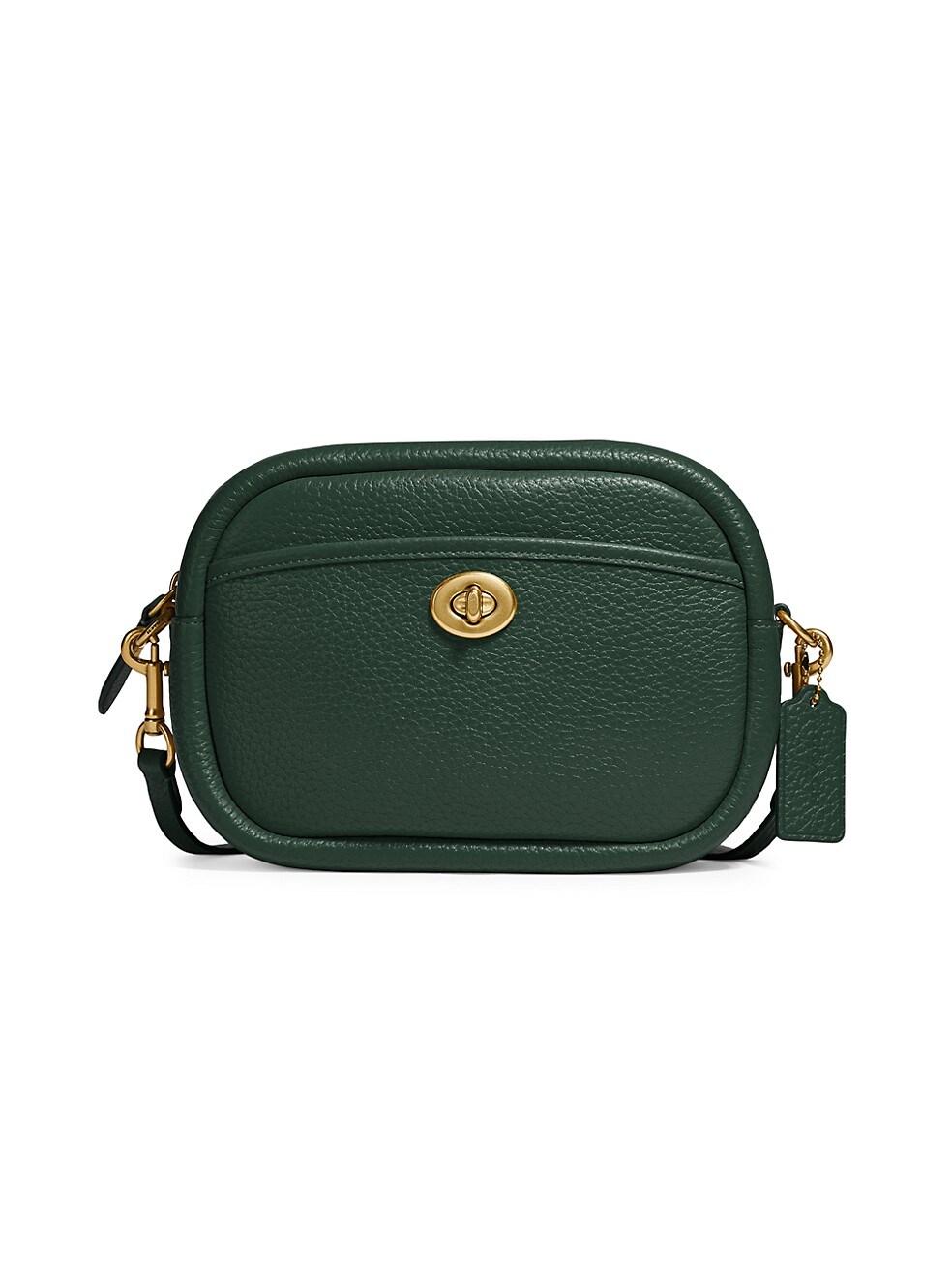 코치 카메라백 COACH Leather & Web-Strap Leather Camera Bag,GREEN