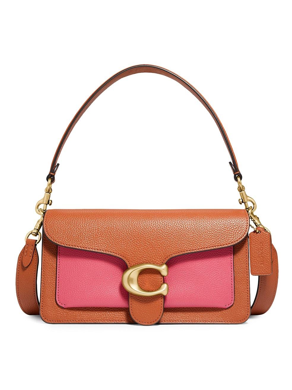 코치 숄더백 COACH Tabby Colorblock Leather Shoulder Bag,PINK MULTI