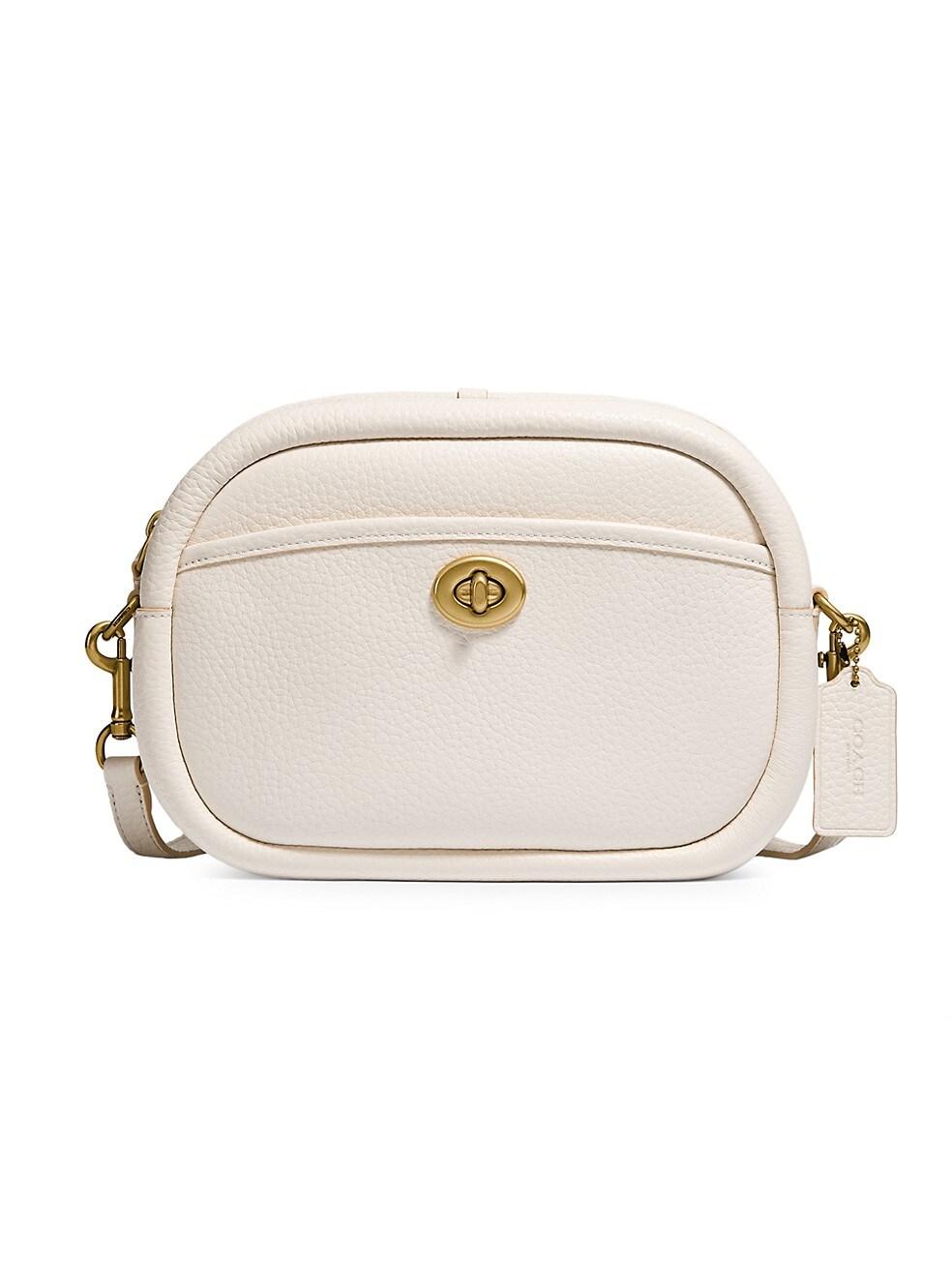 코치 카메라백 COACH Pebbled Leather Camera Bag,WHITE