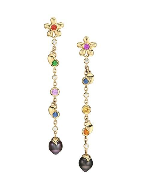 India Dream Candy 18K Yellow Gold & Multi-Stone Diamond Drop Earrings
