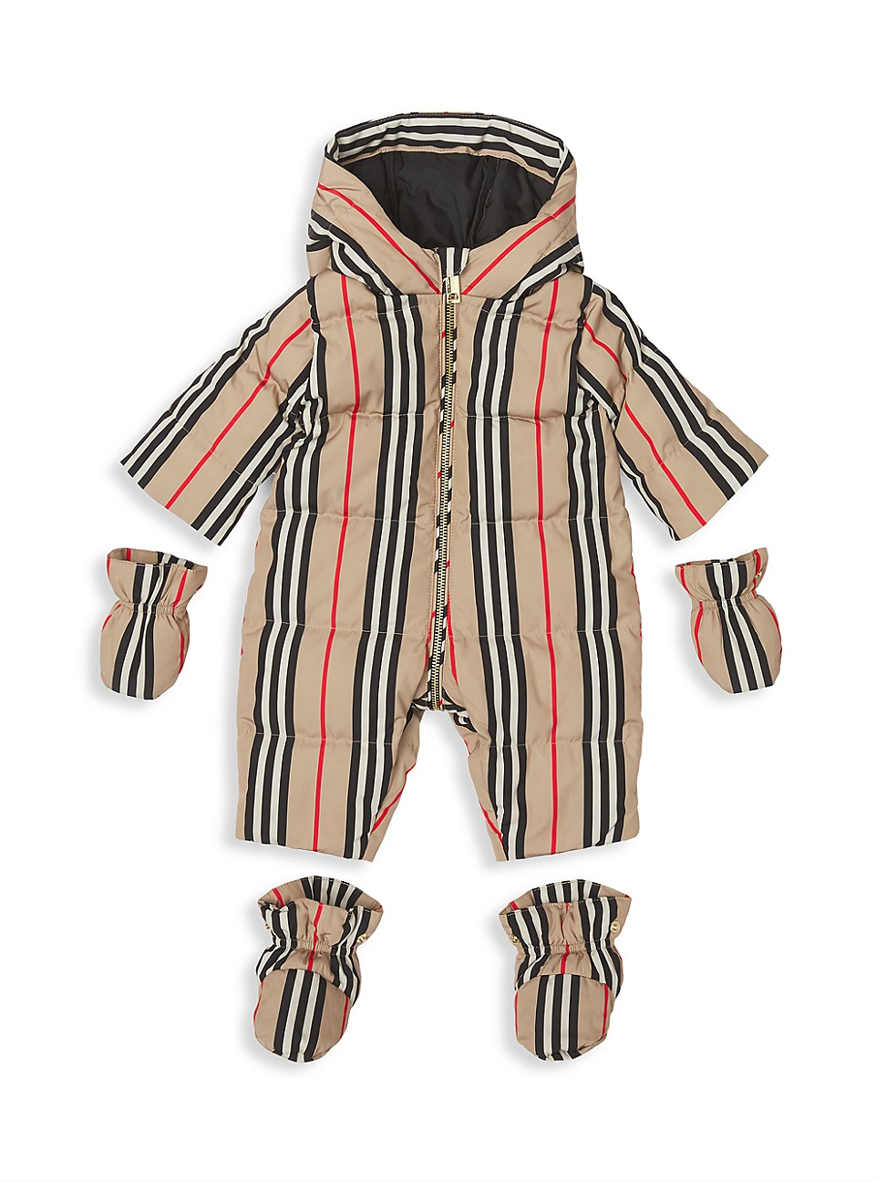 Burberry Baby's Icon Stripe Puffer Jumpsuit In Archive Beige