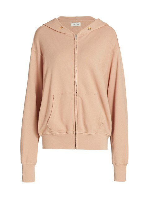 Zip-Up Cropped Terry Cotton Hoodie