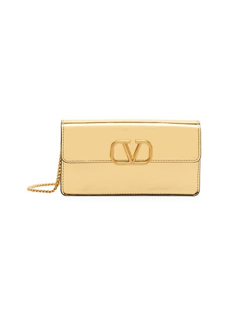 V-Logo Leather Wallet-On-Chain