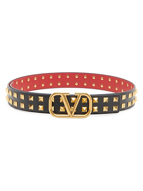 VLogo Studded Leather Belt