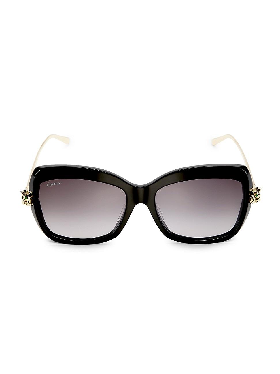 Cartier Women's 55mm Cat Eye Sunglasses In Black