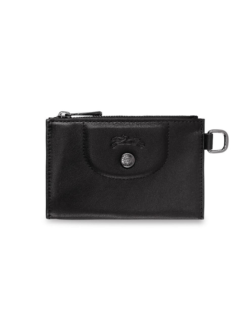 롱샴 파우치 Longchamp Le Pliage Leather Key Case,BLACK