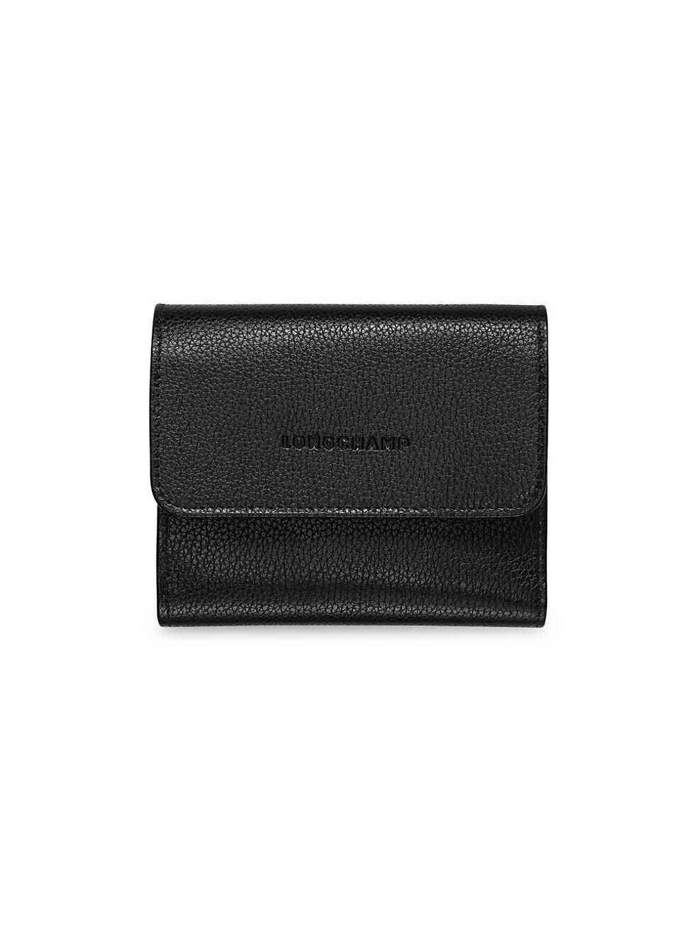 롱샴 지갑 Longchamp Le Foulonne Leather Wallet,BLACK