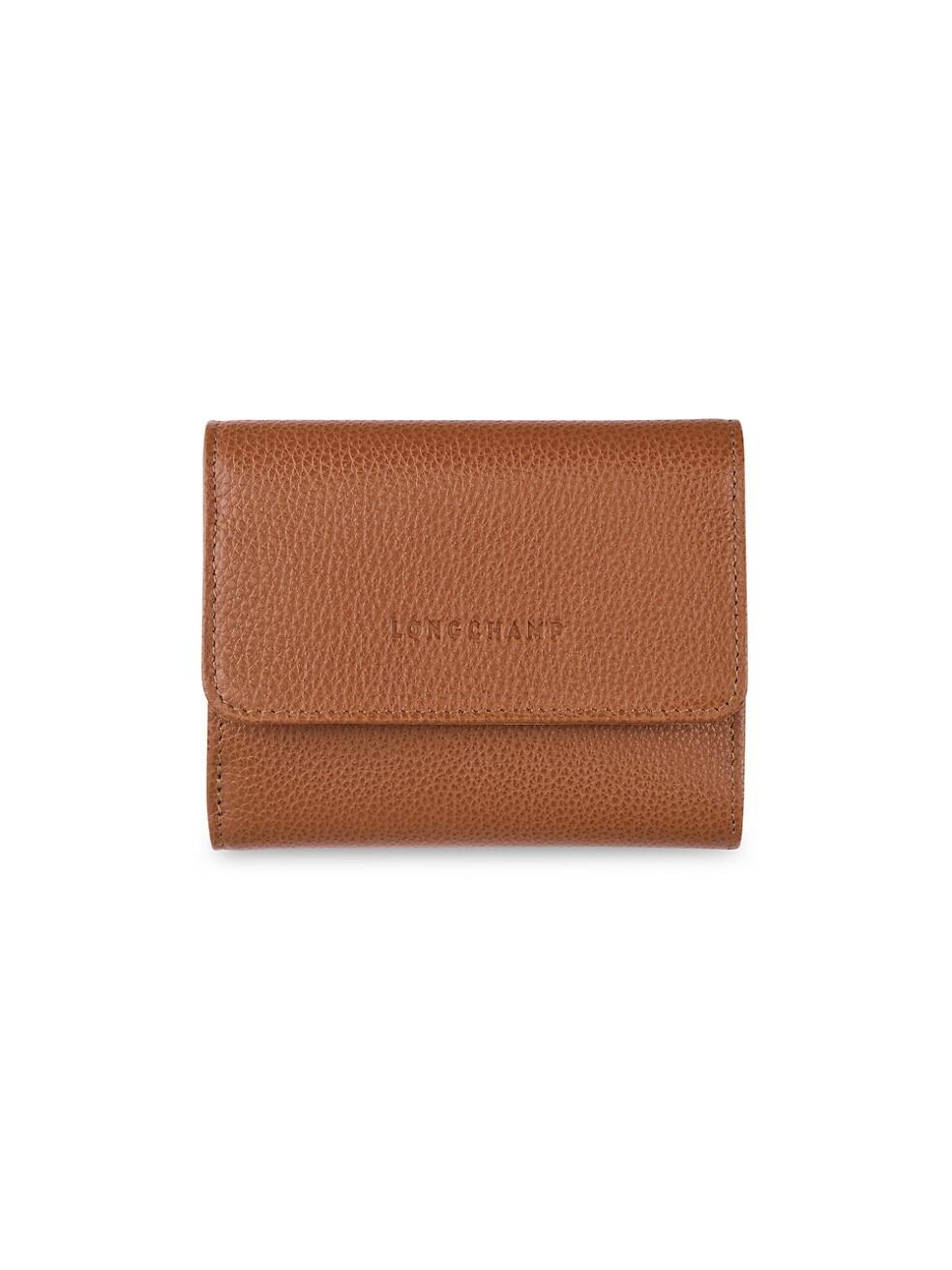롱샴 지갑 Longchamp Le Foulonne Leather Wallet,CARAMEL