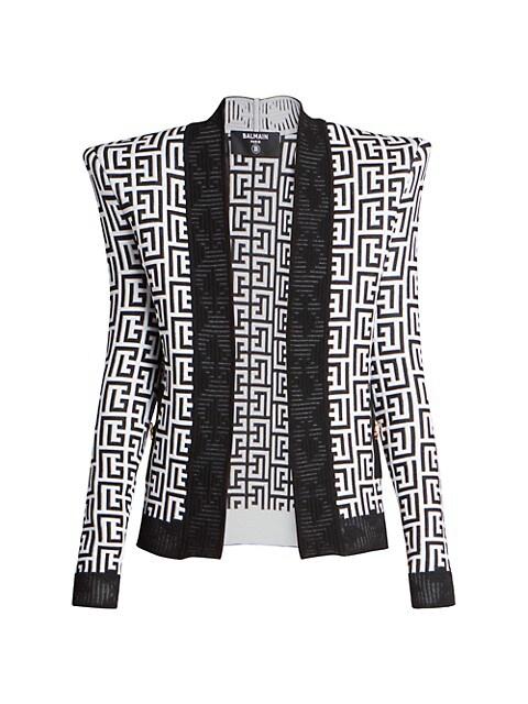Shoulder-Pad Monogram Knit Jacket