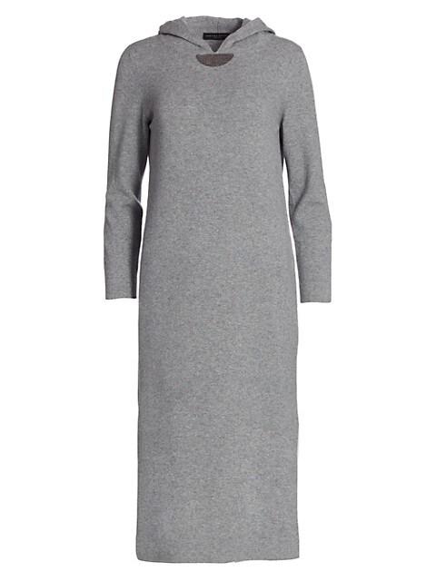 Brilliant Trim Hooded Knit Dress