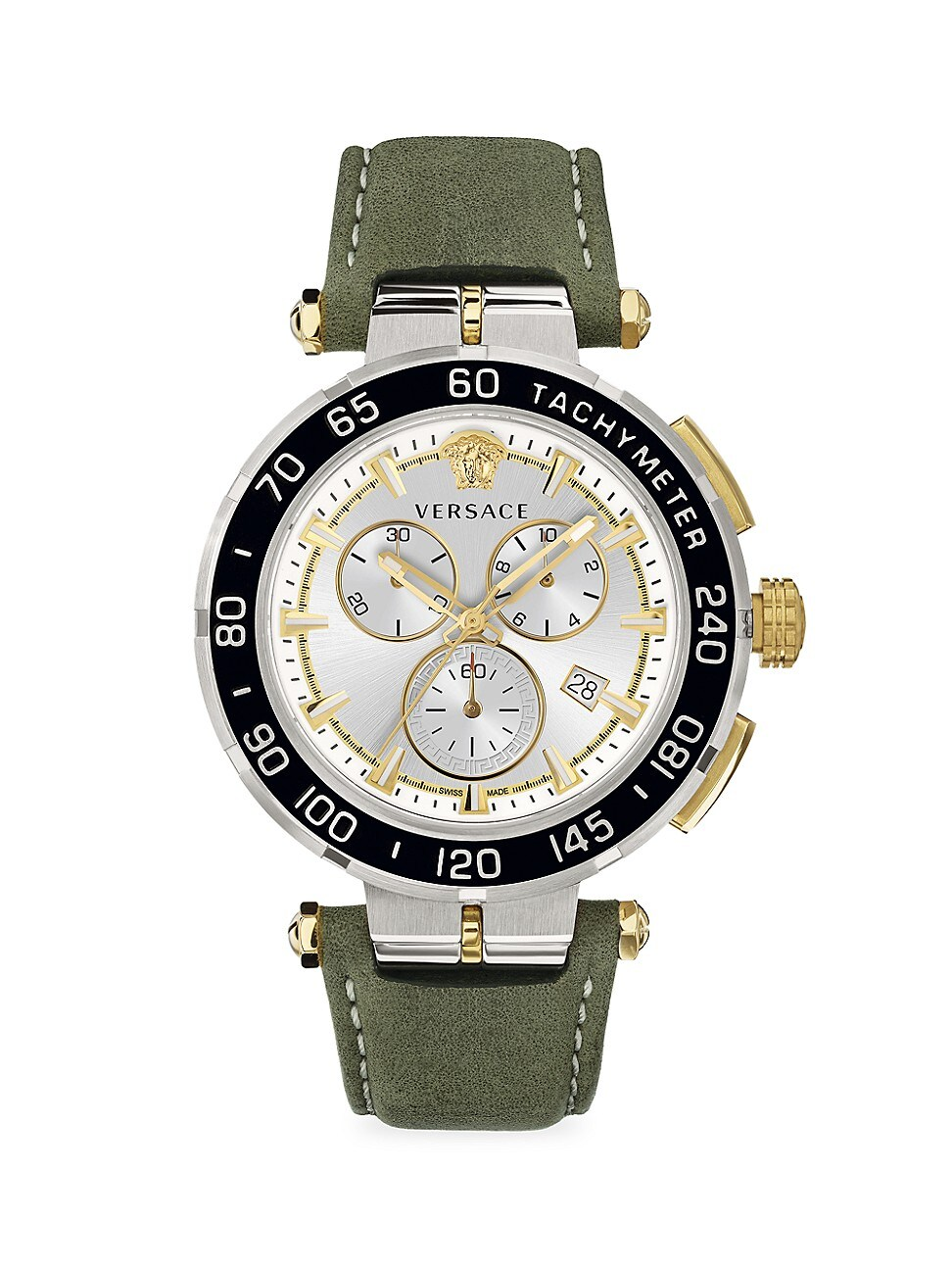 VERSACE GRECA CHRONO STAINLESS STEEL & SILVER GUILLOCHÉ WATCH