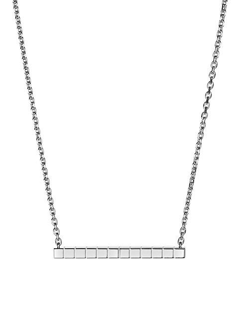Ice Cube 18K White Gold Pendant Necklace