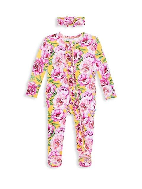 Baby Girl's 2-Piece Elody Headwrap & Footie Set