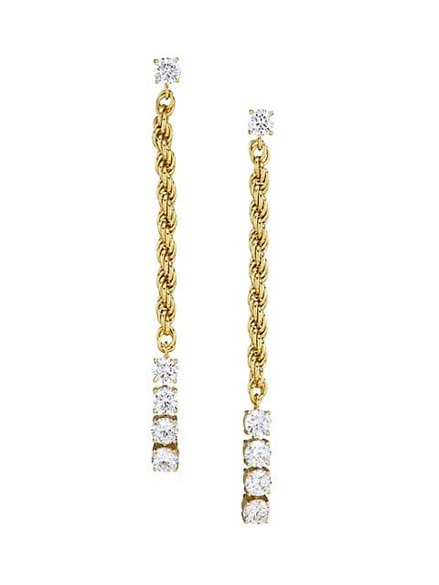 Twist 18K Gold-Plated & Cubic Zirconia Rope Chain Drop Earrings