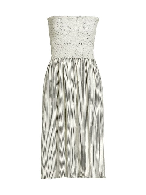 Aster Pinstripe Strapless Dress