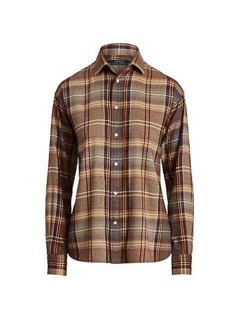 Plaid Twill Button-Up Shirt