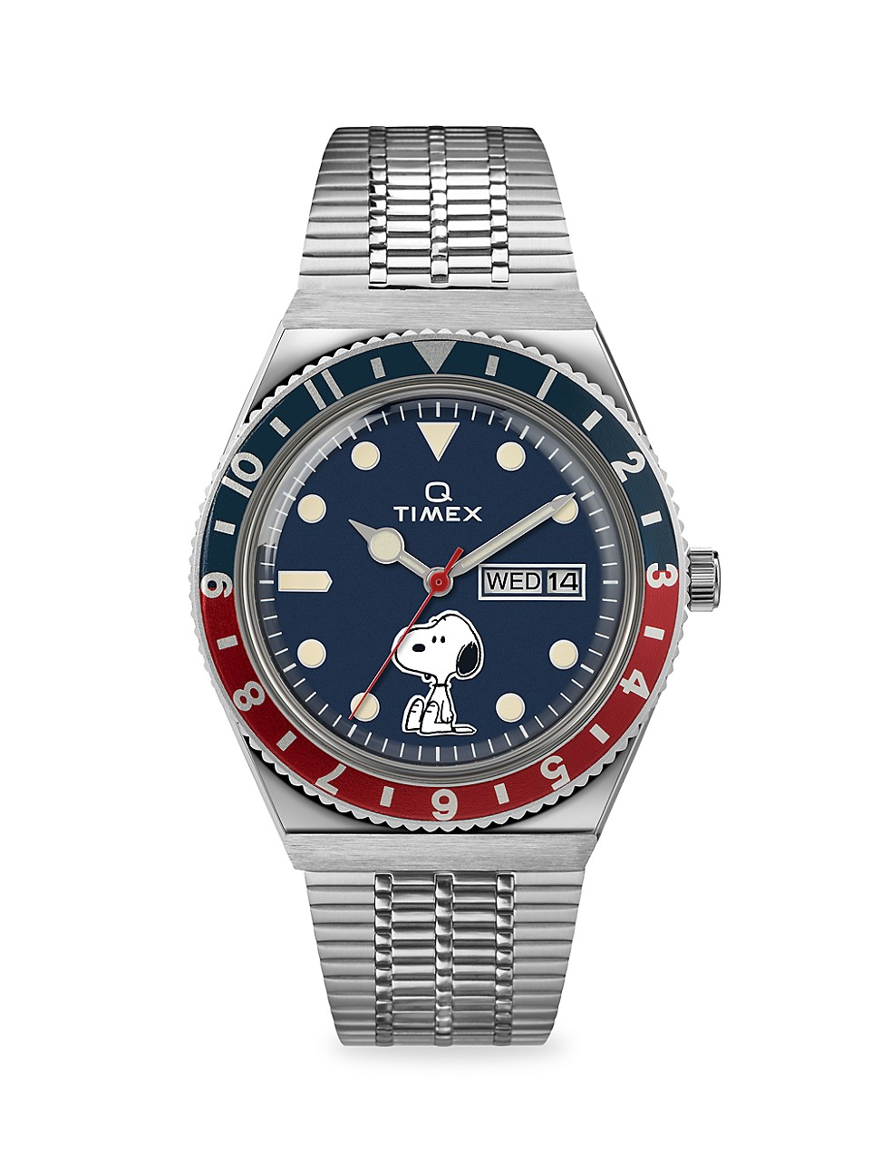 """TIMEX LAB COLLAB SNOOPY """"Q"""" 38MM STAINLESS STEEL BRACELET WATCH"""