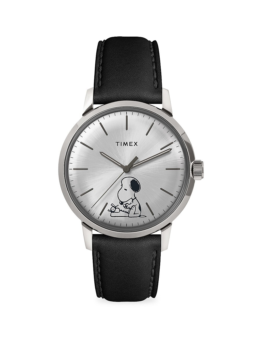 TIMEX MARLIN AUTOMATIC TYPING SNOOPY 40MM LEATHER STRAP WATCH