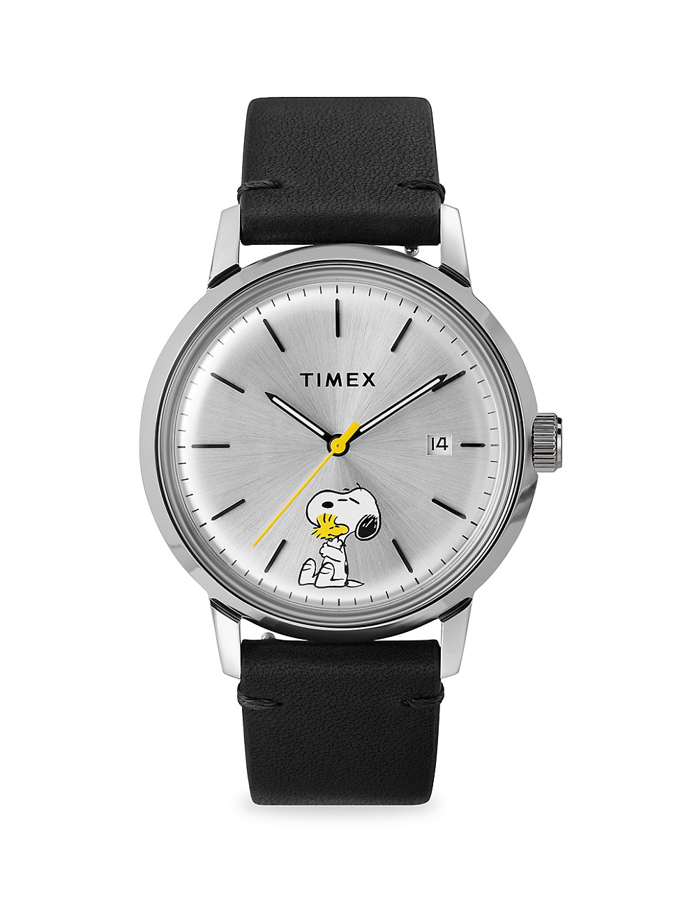 TIMEX MARLIN AUTOMATIC TYPING SNOOPY & WOODSTOCK 40MM LEATHER STRAP WATCH