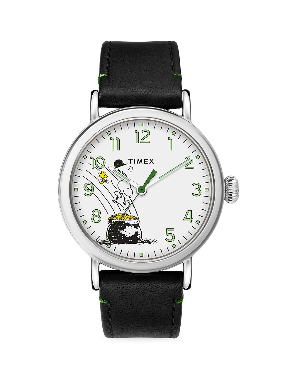 TIMEX STANDARD PEANUTS ST. PADDY'S DAY 40MM LEATHER STRAP WATCH