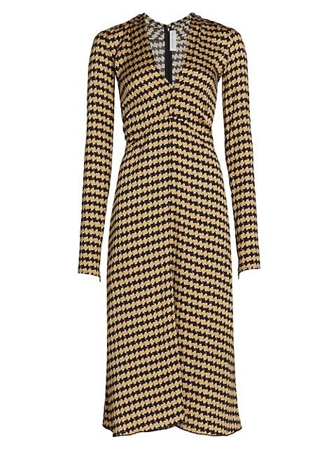 Fit-&-Flare Printed Satin Dress