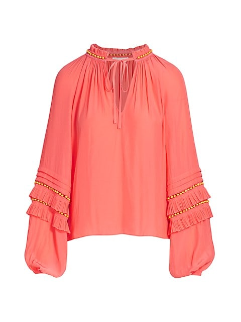 Tie-Front Long-Sleeve Blouse