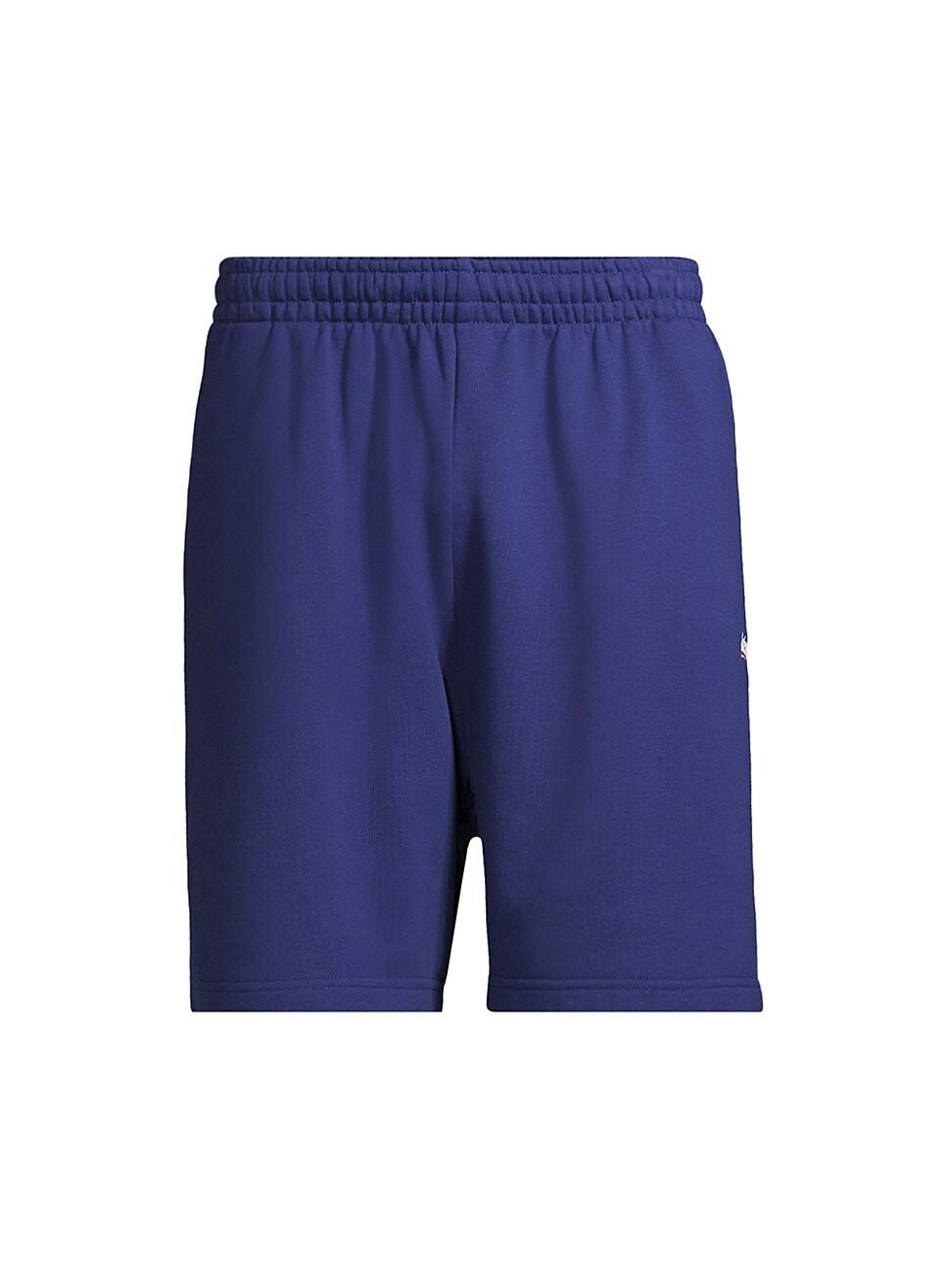 Balenciaga Campaign Logo-embroidered Sweat Shorts In Pacific Blue/ White
