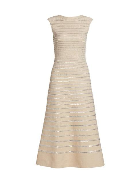 Metallic Knit Low Back Dress