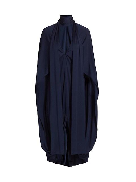 Tie-Neck Draped Silk Jersey Dress