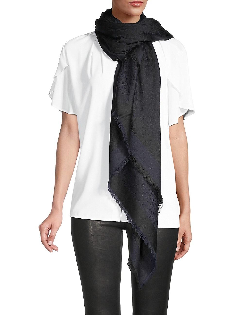 Saint Laurent Sciarpa Grand Monogram Silk & Wool Square Scarf In Black