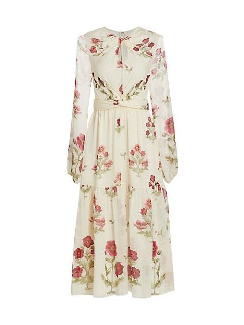 Twist-Front Floral Silk Dress