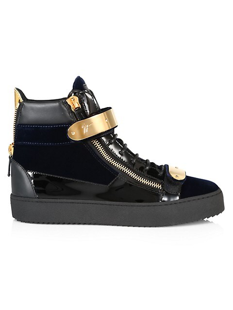 Double-Bar Leather High-Top Sneakers