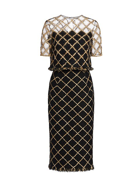 Embroidered Illusion Shoulder Lurex Tweed Pencil Dress