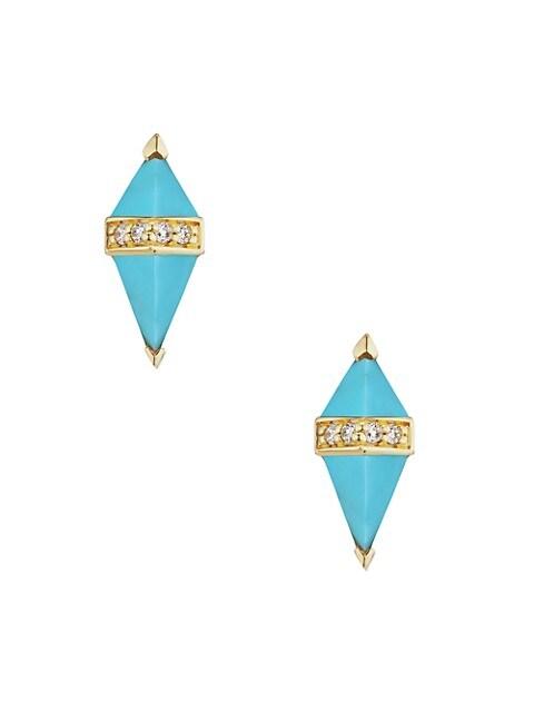 Pietra 18K Yellow Gold, Turquoise & Diamond Stud Earrings